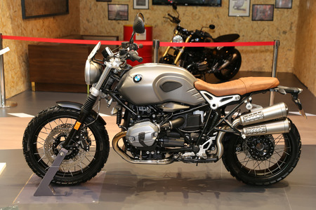 motobike: ISTANBUL, TURKEY - FEBRUARY 25, 2017: BMW motorcycle on display at Motobike Istanbul in Istanbul Exhibition Center