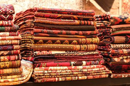 oriental rug: Turkish Carpets in Grand Bazaar, Istanbul, Turkey Stock Photo