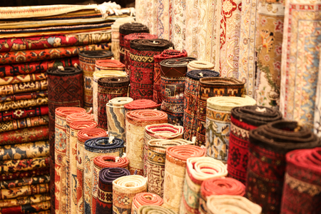 Turkish Carpets in Grand Bazaar, Istanbul, Turkey Standard-Bild