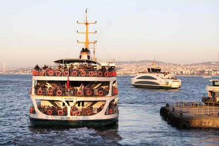 seaway: ISTANBUL, TURKEY - MARCH 01, 2017: Sehir Hatlari ferry in Eminonu Port. Sehir Hatlari was established in 1844 and now carry 150,000 passengers a day.