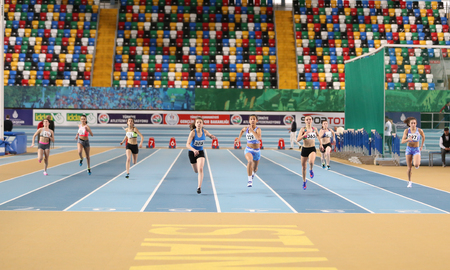 ISTANBUL, TURKEY - JANUARY 15, 2017: Athletes running 60 metres during Turkish Athletic Federation Indoor Athletics Record Attempt Races Editorial
