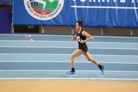 ISTANBUL, TURKEY - FEBRUARY 04, 2017: Athlete Suleyman Karadag running during Turkcell Turkish Youth Indoor Championships