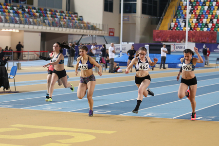 metres: ISTANBUL, TURKEY - MARCH 11, 2017: Athletes running 60 metres