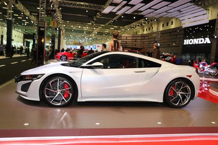 acura: ISTANBUL, TURKEY - APRIL 22, 2017: Honda NSX on display at Autoshow Istanbul