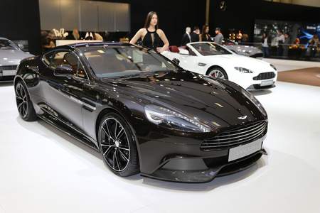 ISTANBUL, TURKEY - APRIL 22, 2017: Aston Martin Vanquish on display at Autoshow Istanbul