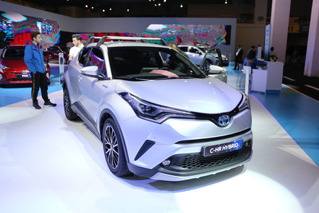 ISTANBUL, TURKEY - APRIL 22, 2017: Toyota C-HR Hybrid on display at Autoshow Istanbul