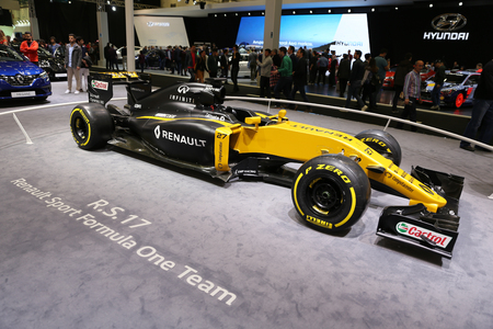 ISTANBUL, TURKEY - APRIL 22, 2017: RS17 Renault Sport Formula One Team car on display at Autoshow Istanbul Editorial