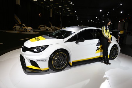 ISTANBUL, TURKEY - APRIL 22, 2017: Opel Astra Racing car on display at Autoshow Istanbul Editorial