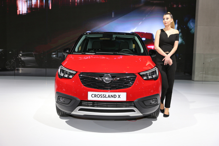 ISTANBUL, TURKEY - APRIL 22, 2017: Opel Crossland X on display at Autoshow Istanbul