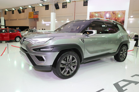 ISTANBUL, TURKEY - APRIL 22, 2017: SsangYong XAVL concept on display at Autoshow Istanbul
