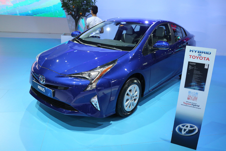 ISTANBUL, TURKEY - APRIL 22, 2017: Toyota Prius on display at Autoshow Istanbul