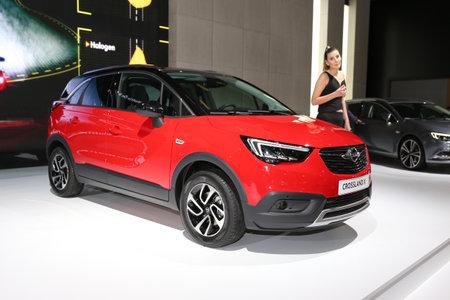 ISTANBUL, TURKEY - APRIL 22, 2017: Opel Crossland X on display at Autoshow Istanbul