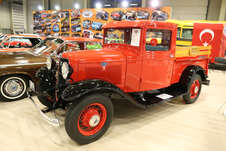 ISTANBUL, TURKEY - APRIL 22, 2017: An Old Ford Truck on display at Autoshow Istanbul Editorial