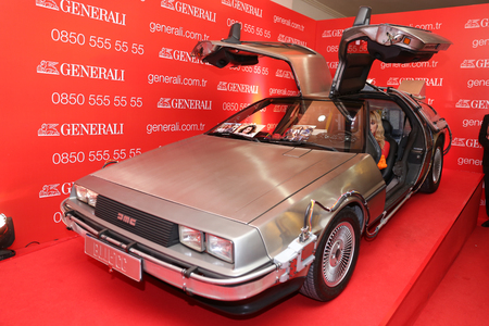 ISTANBUL, TURKEY - APRIL 22, 2017: DeLorean DMC-12 on display at Autoshow Istanbul