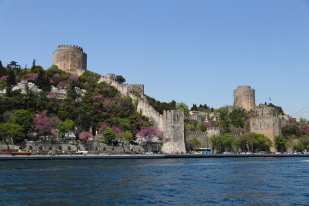hisari: Rumelian Castle in Bosphorus Strait Coast of Istanbul City, Turkey