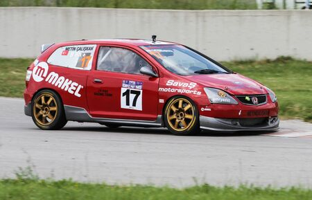 KOCAELI, TURKEY - MAY 14, 2017: Metin Caliskan drives Honda Civic Type-R during Turkish Touring Car Championships.