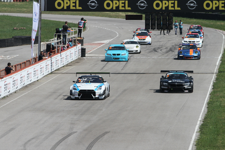 KOCAELI, TURKEY - MAY 14, 2017: Turkish Touring Cars in start line during Turkish Touring Car Championships.