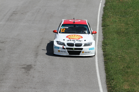 KOCAELI, TURKEY - MAY 14, 2017: Galip Atar drives BMW 320 during Turkish Touring Car Championships. Editöryel