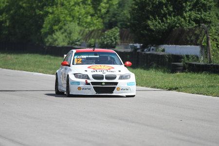 KOCAELI, TURKEY - MAY 14, 2017: Galip Atar drives BMW 320 during Turkish Touring Car Championships. Editorial