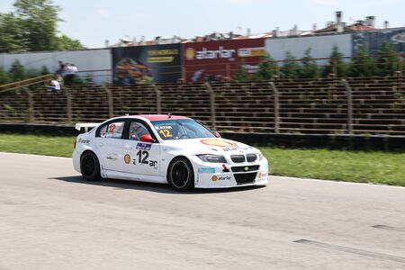 atar: KOCAELI, TURKEY - MAY 14, 2017: Galip Atar drives BMW 320 of Ulku Motorsport Team during Turkish Touring Car Championships.