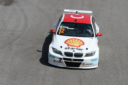 atar: KOCAELI, TURKEY - MAY 14, 2017: Galip Atar drives BMW 320 during Turkish Touring Car Championships. Editorial