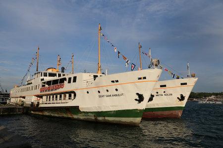 ISTANBUL, TURKEY - MAY 19, 2017: Sehir Hatlari ferries in Karakoy Port. Sehir Hatlari was established in 1844 and now carry 150,000 passengers a day.