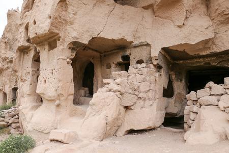 Carved Rooms in Zelve Valley, Cappadocia, Turkey Stock Photo