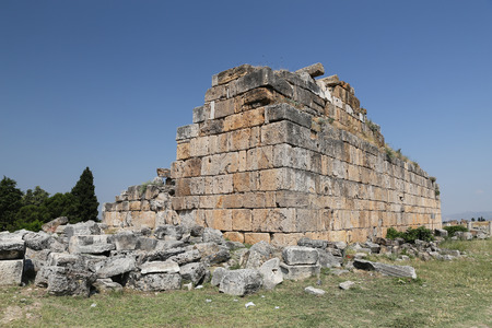 Ruins in Hierapolis Ancient City, Pamukkale, Turkey Stock Photo