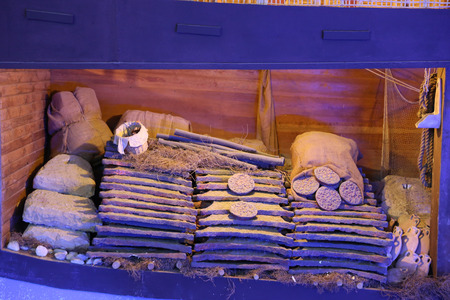 MUGLA, TURKEY - JUNE 19, 2017: Recreation of a lagan in Bodrum Castle Underwater Museum of Archaeology Banco de Imagens - 85380257