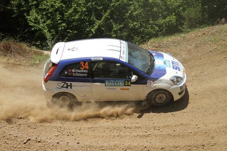 BURSA, TURKEY - JULY 22, 2017: Billur Hasbay drives Ford Fiesta ST of Ford Motorsport Turkey Team in Rally Bursa Editorial