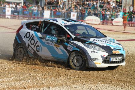 BURSA, TURKEY - JULY 22, 2017: Cem Alakoc drives Ford Fiesta R2 of Ford Motorsport Turkey Team in Rally Bursa