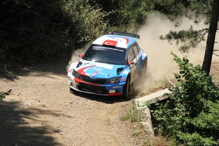 BURSA, TURKEY - JULY 22, 2017: Burak Cukurova drives Skoda Fabia R5 of BC Vision Motorsport Team in Rally Bursa Editorial