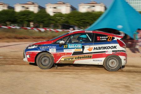BURSA, TURKEY - JULY 22, 2017: Burak Baslik drives Ford Fiesta R2 of Ford Motorsport Turkey Team in Rally Bursa