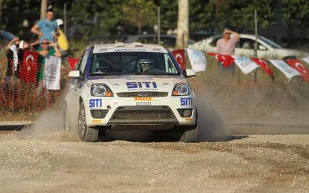BURSA, TURKEY - JULY 22, 2017: Saip Can Hasbay drives Ford Fiesta ST of Ford Motorsport Turkey Team in Rally Bursa
