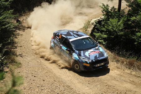 BURSA, TURKEY - JULY 22, 2017: Ismet Toktas drives Ford Fiesta R2T of Ford Motorsport Turkey Team in Rally Bursa Editorial