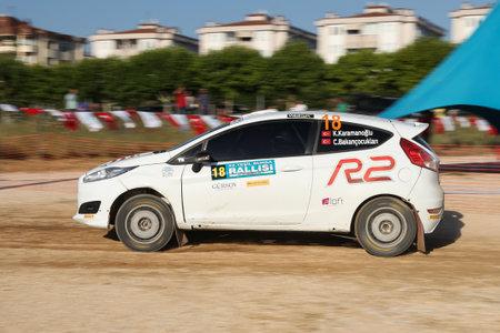 BURSA, TURKEY - JULY 22, 2017: Kaan Karamanoglu drives Ford Fiesta R2T of Ford Motorsport Turkey Team in Rally Bursa Editorial