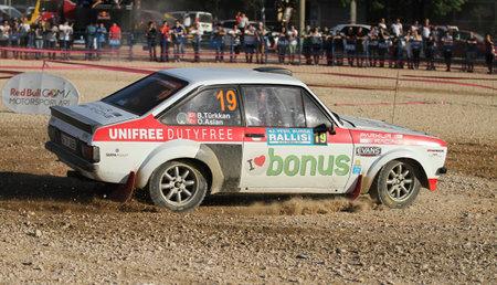 BURSA, TURKEY - JULY 22, 2017: Burak Turkkan drives Ford Escort MKII of Parkur Racing Team in Rally Bursa