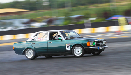 ISTANBUL, TURKEY - JULY 29, 2017: Levent Enon drives Mercedes W123 in Apex Masters Turkish Drift Series Istanbul Race.