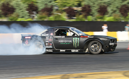 tire tracks: ISTANBUL, TURKEY - JULY 29, 2017: Dmitriy Illyuk drives Nissan S14 Boss Body of Monster Energy Team in Apex Masters Turkish Drift Series Istanbul Race. Editorial