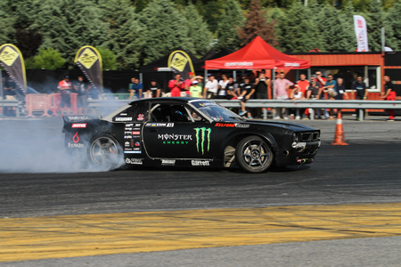 ISTANBUL, TURKEY - JULY 29, 2017: Dmitriy Illyuk drives Nissan S14 Boss Body of Monster Energy Team in Apex Masters Turkish Drift Series Istanbul Race. Editorial