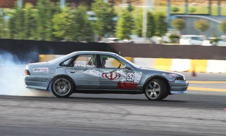ISTANBUL, TURKEY - JULY 29, 2017: Kalafi Notash drives a drift car in Apex Masters Turkish Drift Series Istanbul Race.