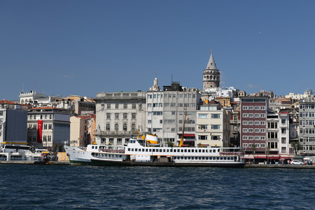 Karakoy and Galata Tower in Istanbul City, Turkey Stock Photo