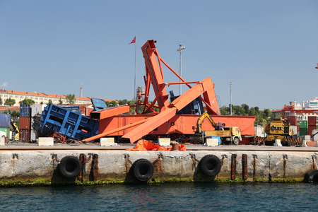 ISTANBUL, TURKEY - SEPTEMBER 01, 2017: Haydarpasa port crane collapsed during wind storm in Istanbul. Editorial