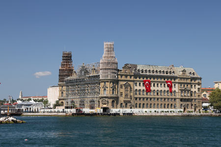ISTANBUL, TURKEY - SEPTEMBER 01, 2017: Haydarpasa train station is being restored after roof fire Editorial
