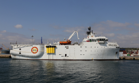 ISTANBUL, TURKEY - SEPTEMBER 16, 2017: RV MTA Oruc Reis is a Turkish research vessel in Haydarpasa Port. The vessel is 87 m long, has a beam of 23 m, a depth of 8 m and a draft of 6 m Editorial