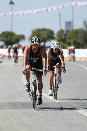 ISTANBUL, TURKEY - JULY 29, 2017: Athletes competing in cycling component of Istanbul Beylikduzu ETU Triathlon European Cup.