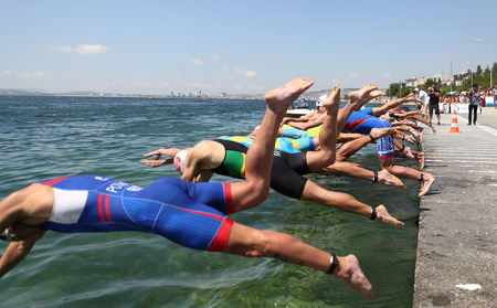 ISTANBUL, TURKEY - JULY 30, 2017: Athletes competing in swimming component of Istanbul Beylikduzu ETU Triathlon European Cup.