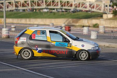 CANAKKALE, TURKEY - JULY 01, 2017: Tuna Muhtar drives Fiat Palio in Rally Troia