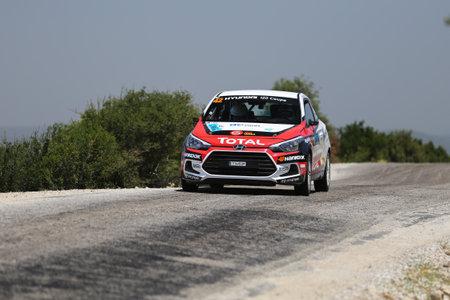 CANAKKALE, TURKEY - JULY 02, 2017: Toprak Candan drives Hyundai I20 Coupe in Rally Troia