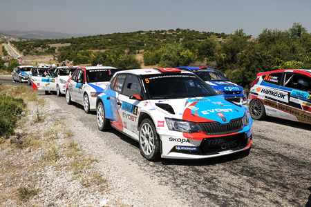 CANAKKALE, TURKEY - JULY 02, 2017: Drivers in Rally Troia